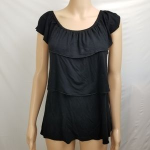 🔴Cable Gauge Top Black Tiered Ruffle Layered Sz S